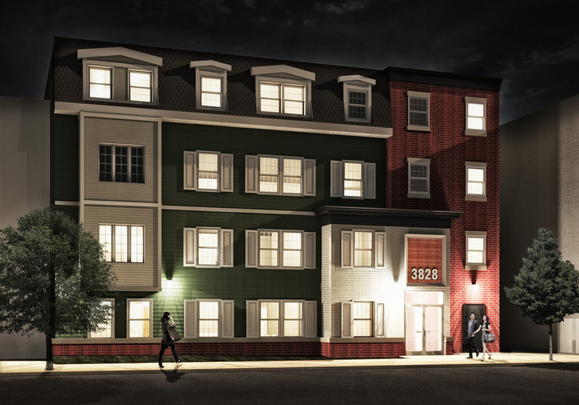 Exterior of Schuyler Building Apartments at 3828 Spring Garden Street at Night